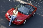 Girl on car hood
